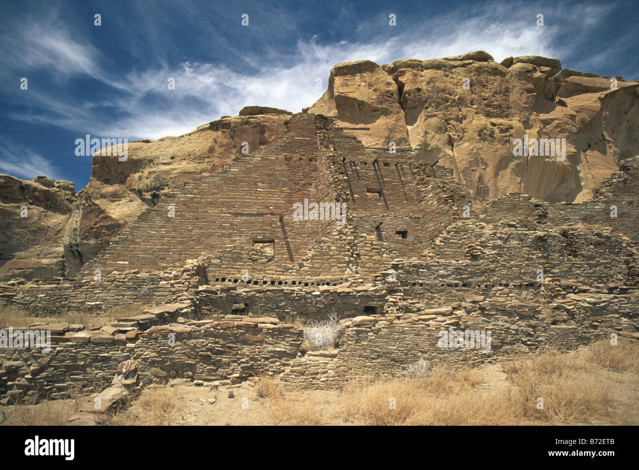 Pueblo Bonito anasazi ruin in Chaco New Mexico USA - Stock Image