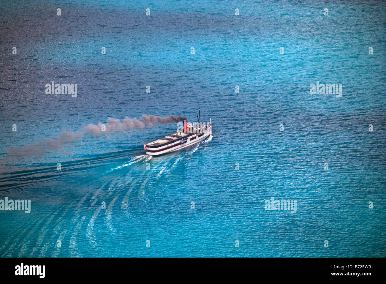 New Zealand, South Island, Queenstown, Aerial view of TSS Earnslaw, steam-powered boat doing lake cruises. - Stock Image
