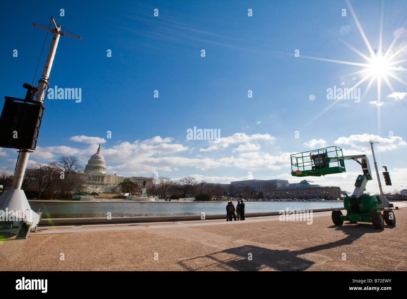 Preparation for  the 56th Presidential Inauguration in front of the Capitol in DC, which will take place on January - Stock Image