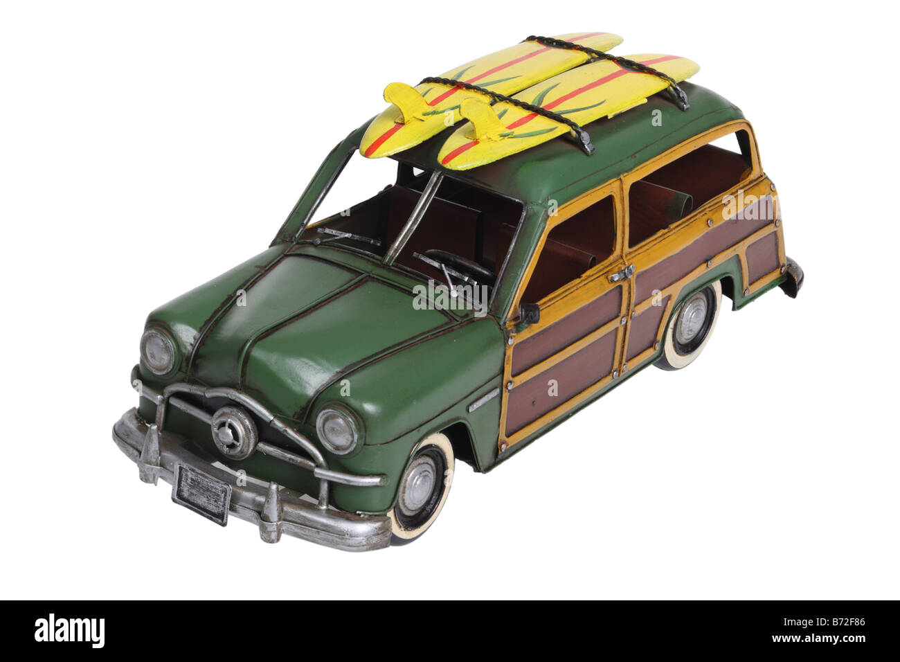 Classic woody surf automobile model cut out on white background - Stock Image