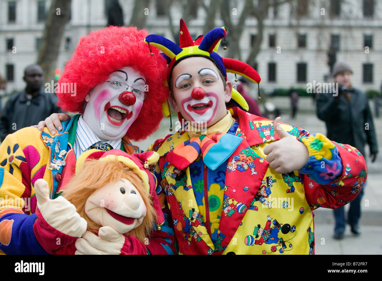 Colourful clowns at the London Parade, a New Year's Day Parade in Central London - Stock Image