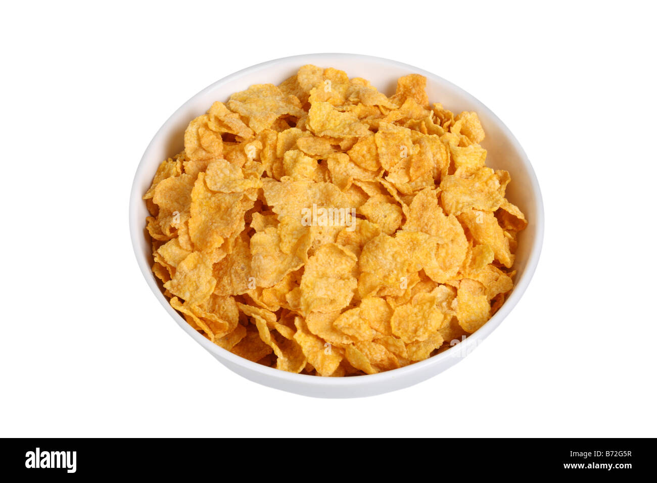 Bowl of cereal cut out isolated on white background - Stock Image