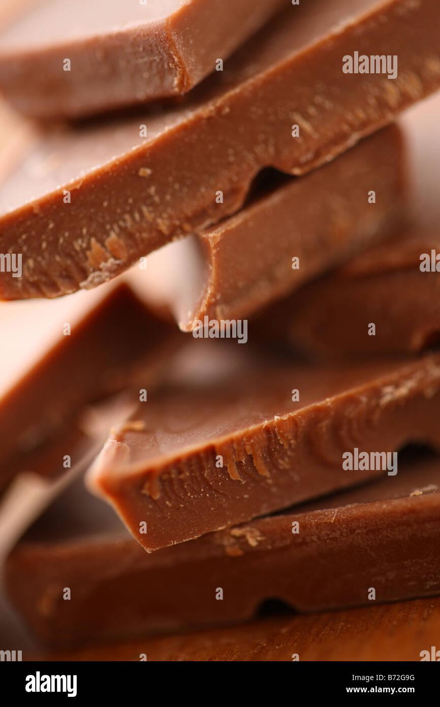 Chocolate chunks selective focus - Stock Image