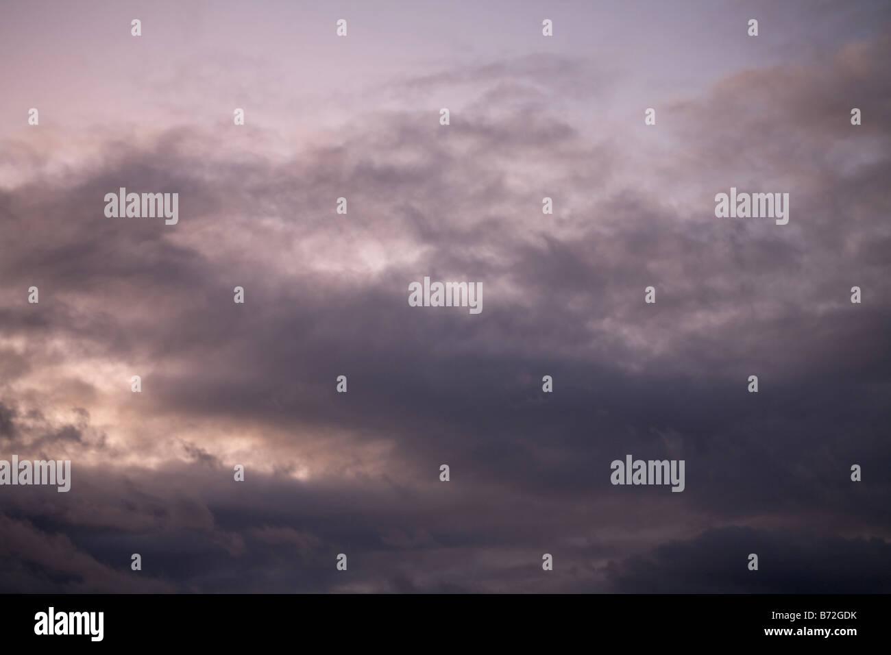 heavy gale purple stormy clouds - Stock Image