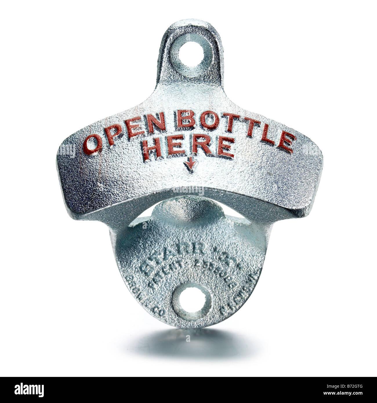 metal bottle opener - Stock Image