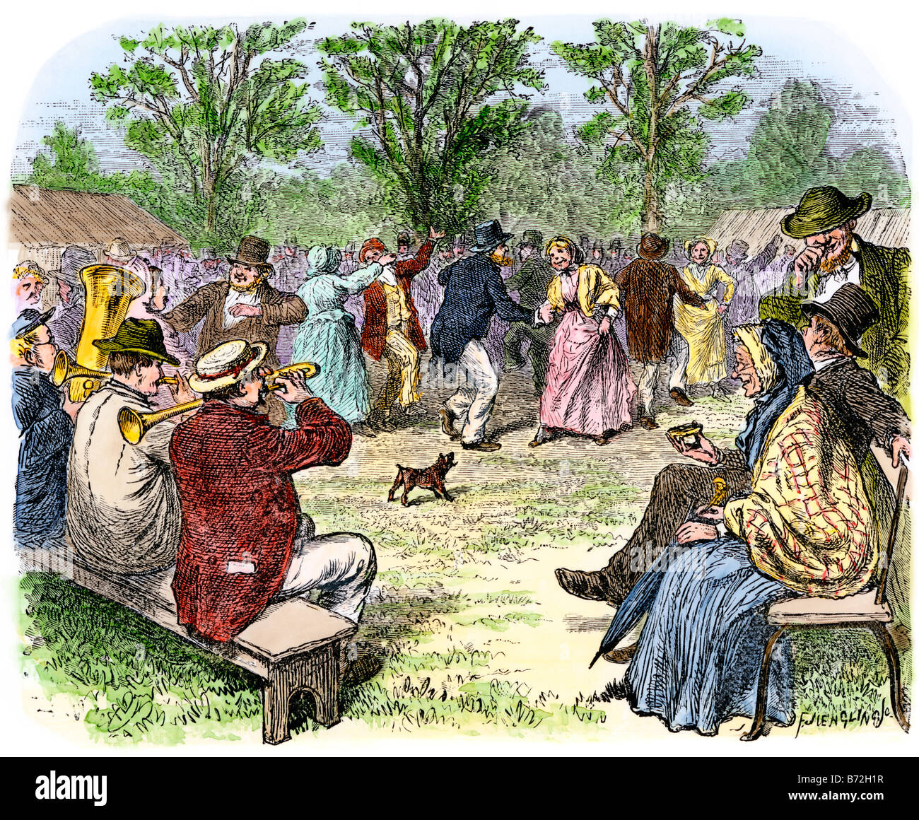 Country people enjoying an outdoor gathering, dancing to a makeshift band 1800s. Hand-colored woodcut - Stock Image