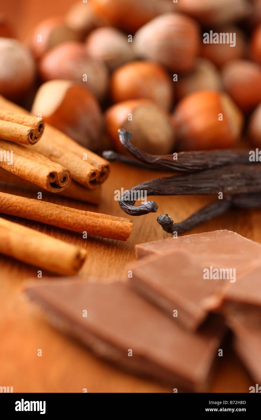 Coffee flavors hazelnut cinnamon vanilla and chocolate - Stock Image