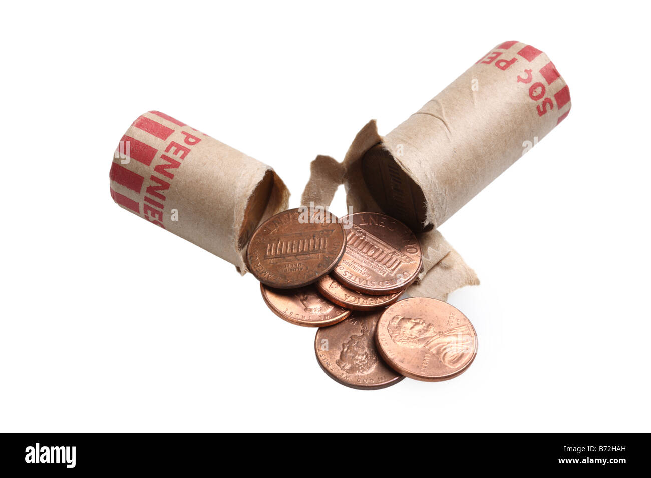 Roll of pennies cut out on white background Stock Photo