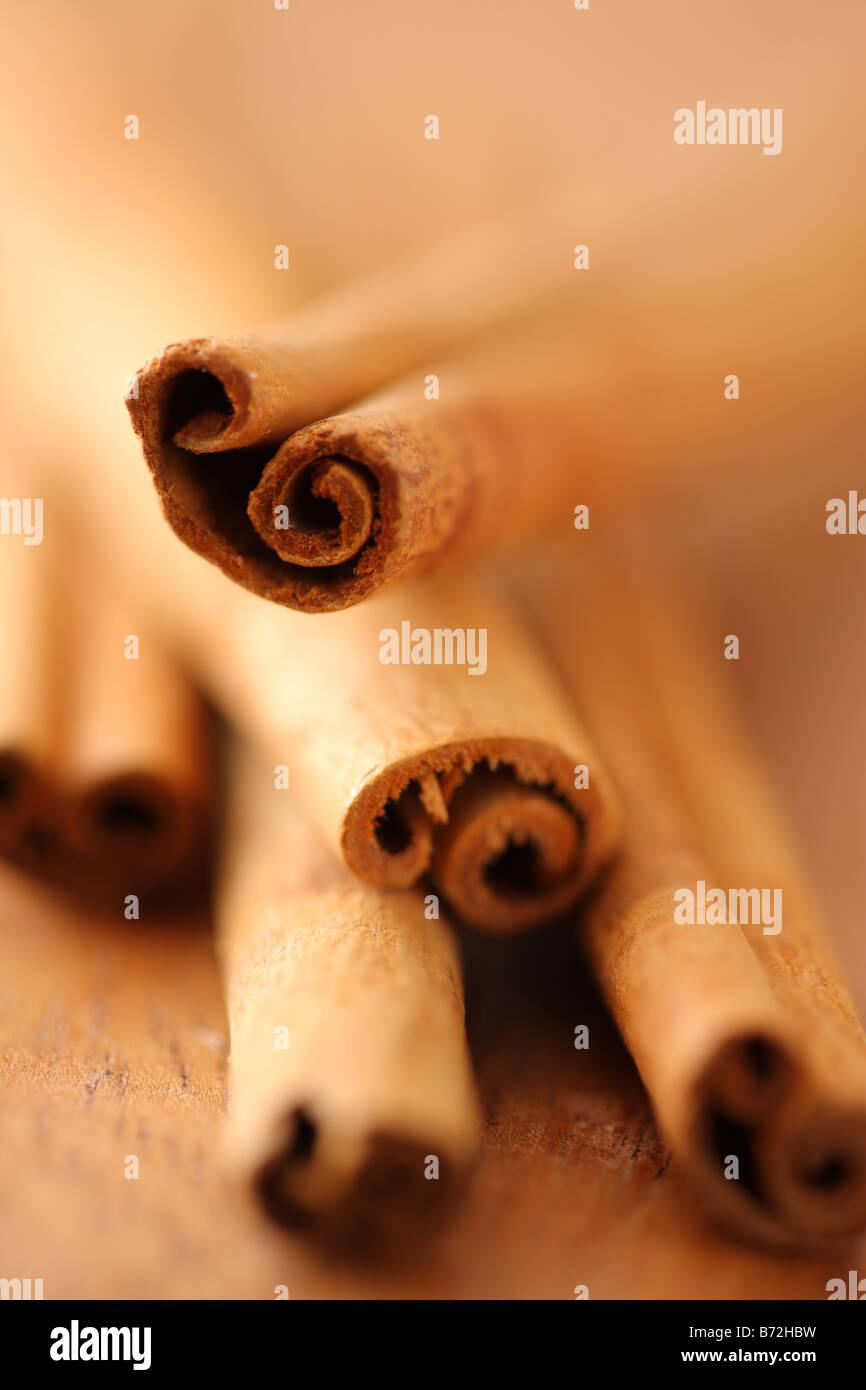 Cinnamon sticks selective focus - Stock Image