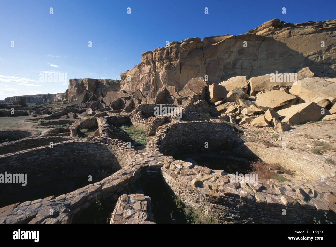 Kivas in Pueblo Bonito anasazi ruin in Chaco New Mexico USA - Stock Image