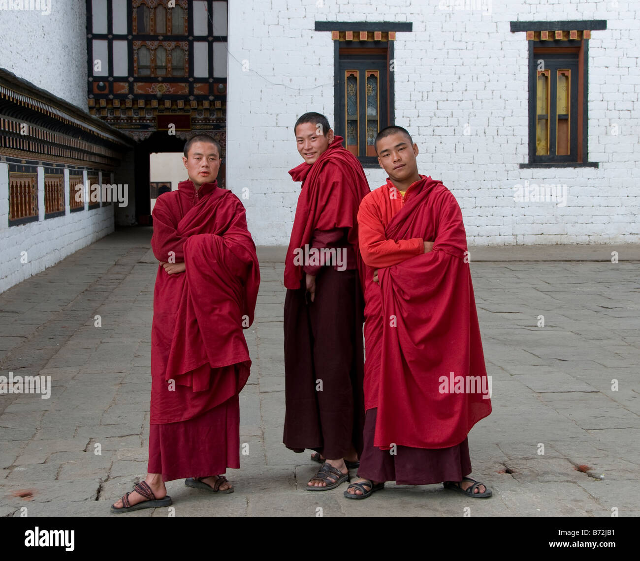 Buddhist Monks Thimphu Royal Palace bhutan Asia - Stock Image