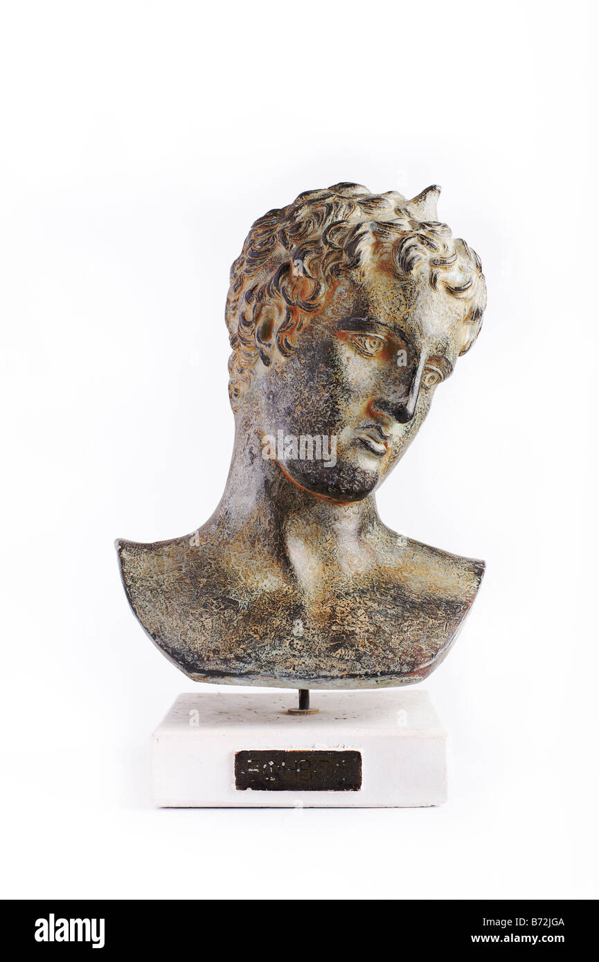 Classical sculpture Greek Roman bust of young man - Stock Image