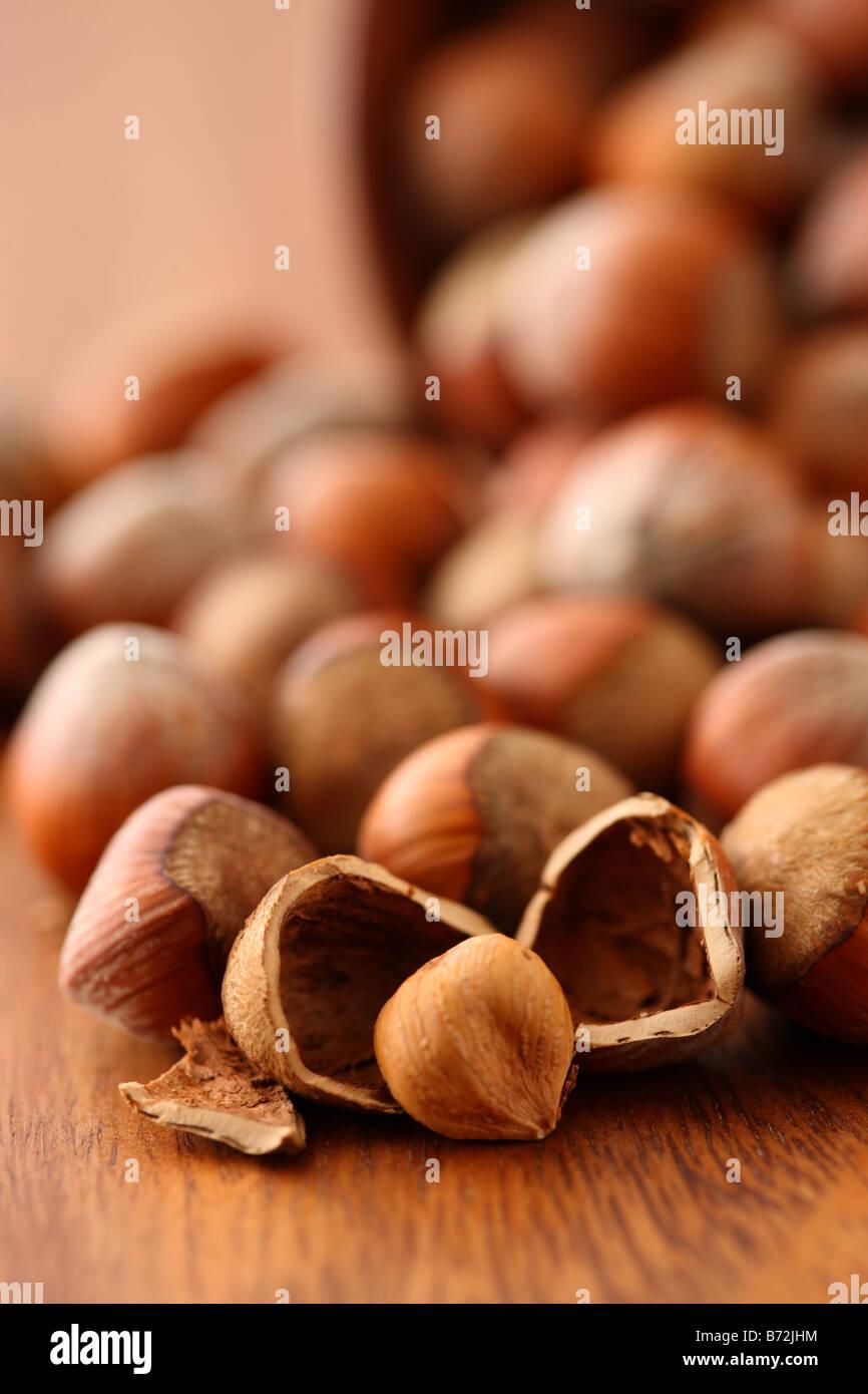 Hazelnuts selective focus - Stock Image