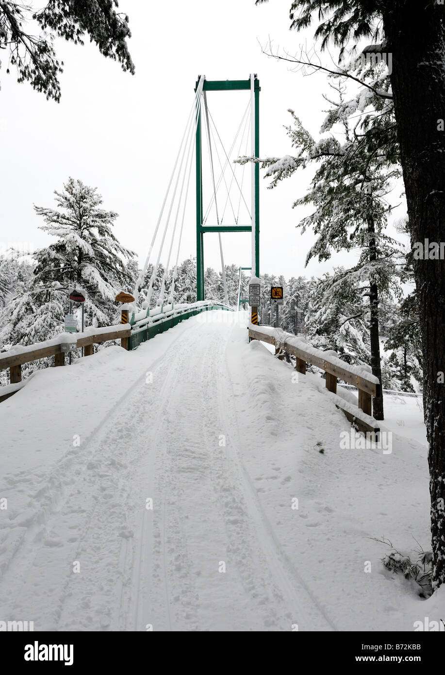 Snowmobile bridge over the French River, Ontario, Canada - Stock Image
