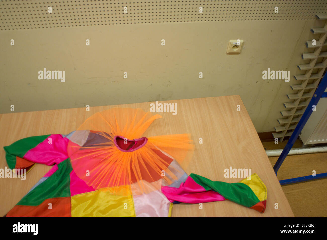 A costume abandoned backstage behind scenes during rehearsals in Poland - Stock Image