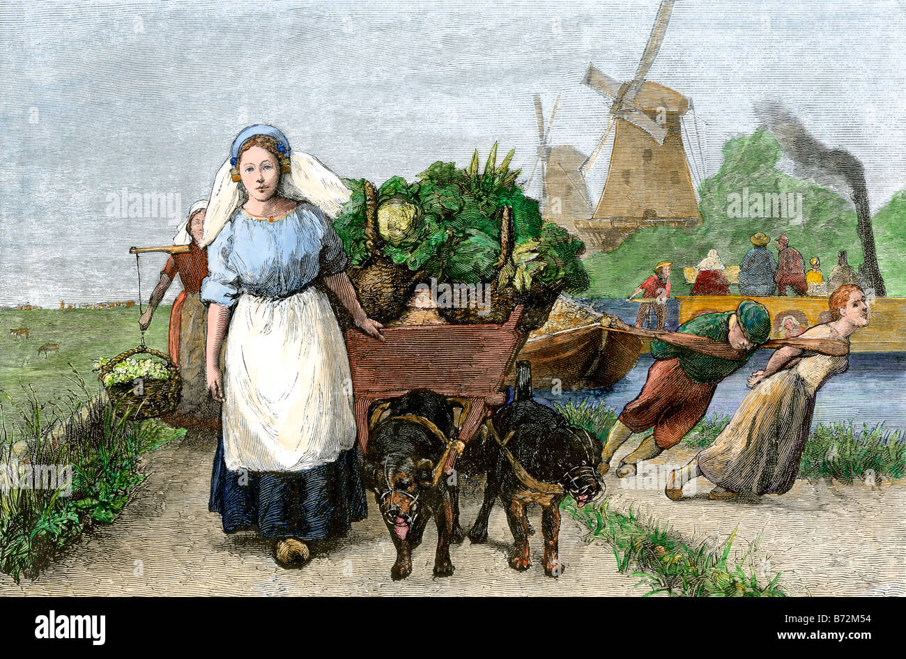 Dog-cart with fresh vegetables and people towing a barge along a Dutch canal 1800s. Digitally colored woodcut - Stock Image