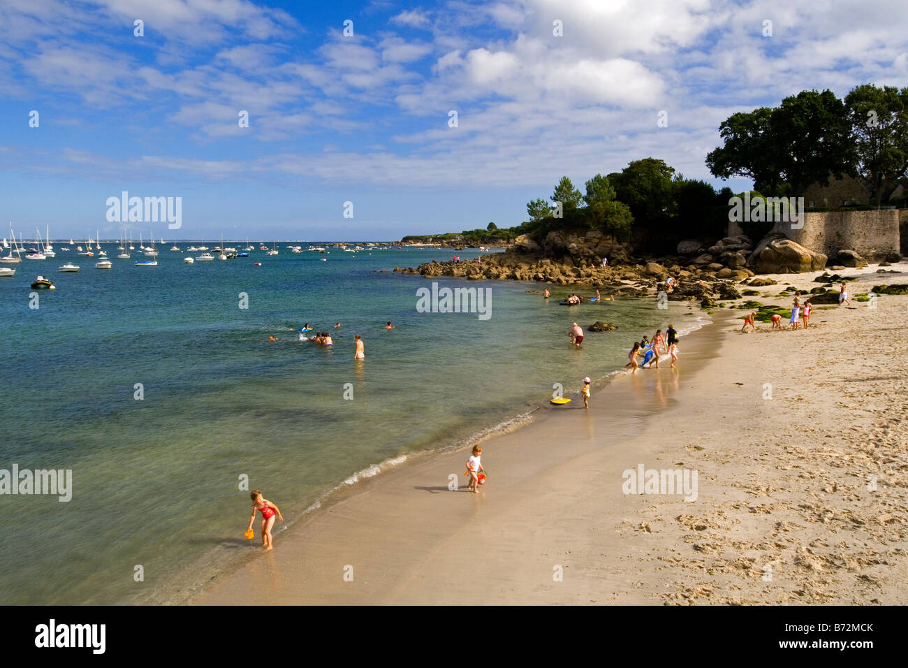 Beach at Beg-Meil near Concarneau in southern Brittany France - Stock Image