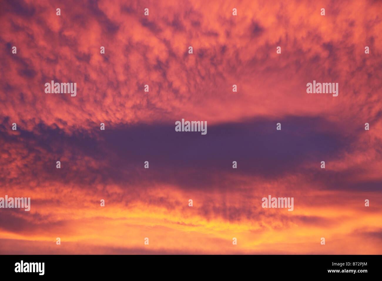 raincloud at sunrise Co Monaghan Ireland - Stock Image