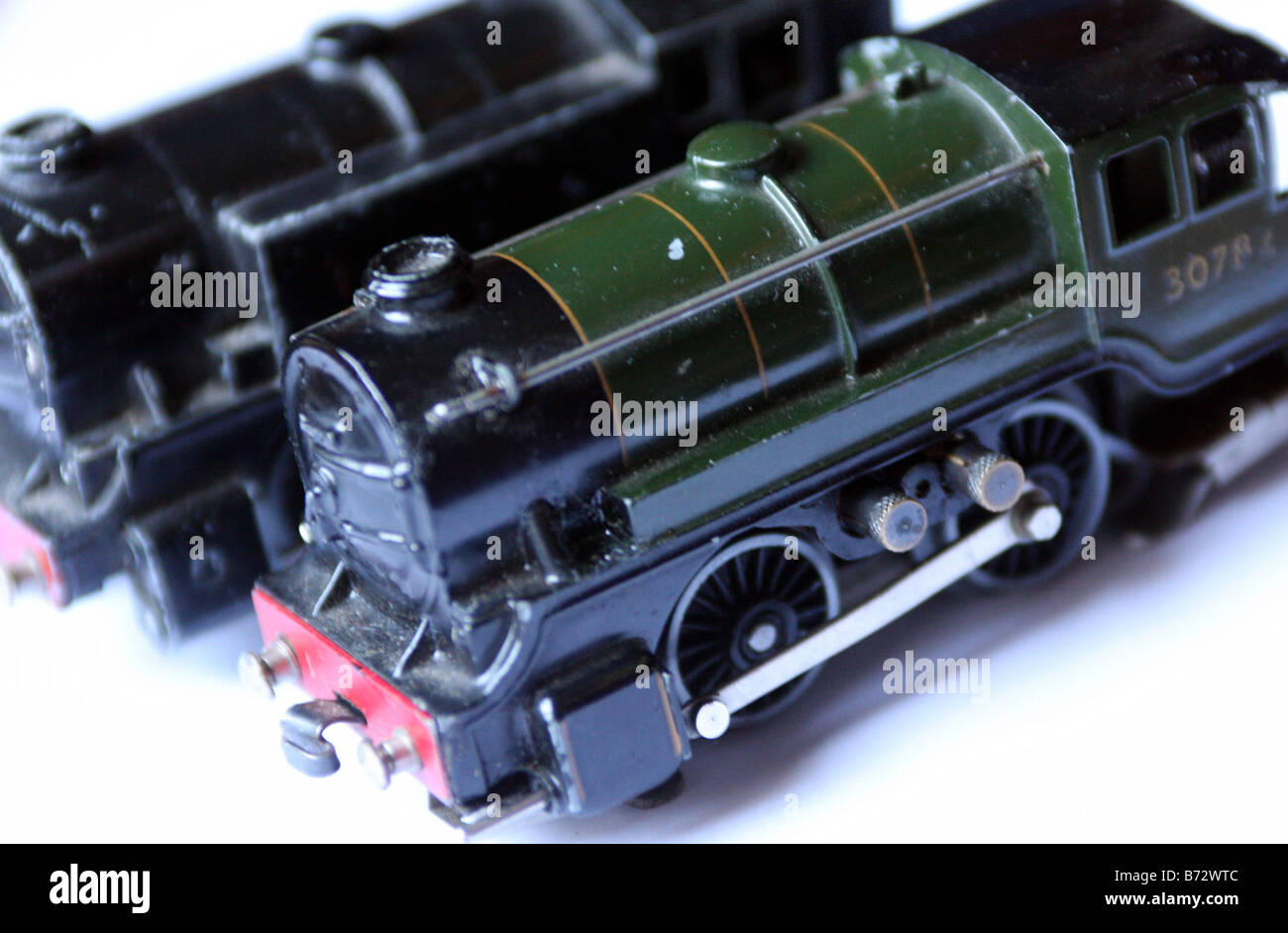 two ttr trix train railway model train locomotives made in the 1950's Stock Photo