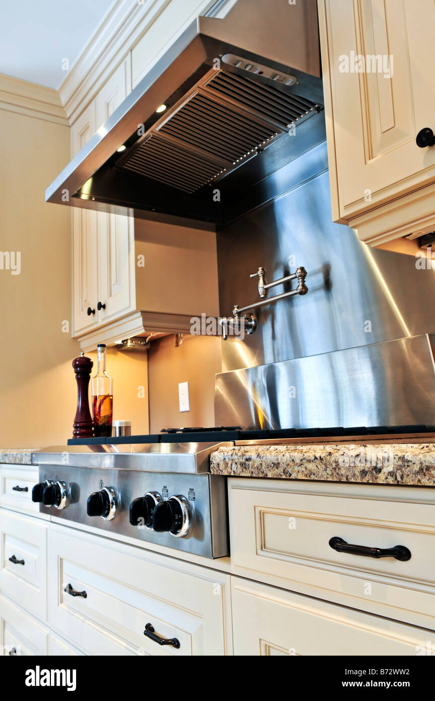 Interior of modern luxury kitchen with stainless steel ...