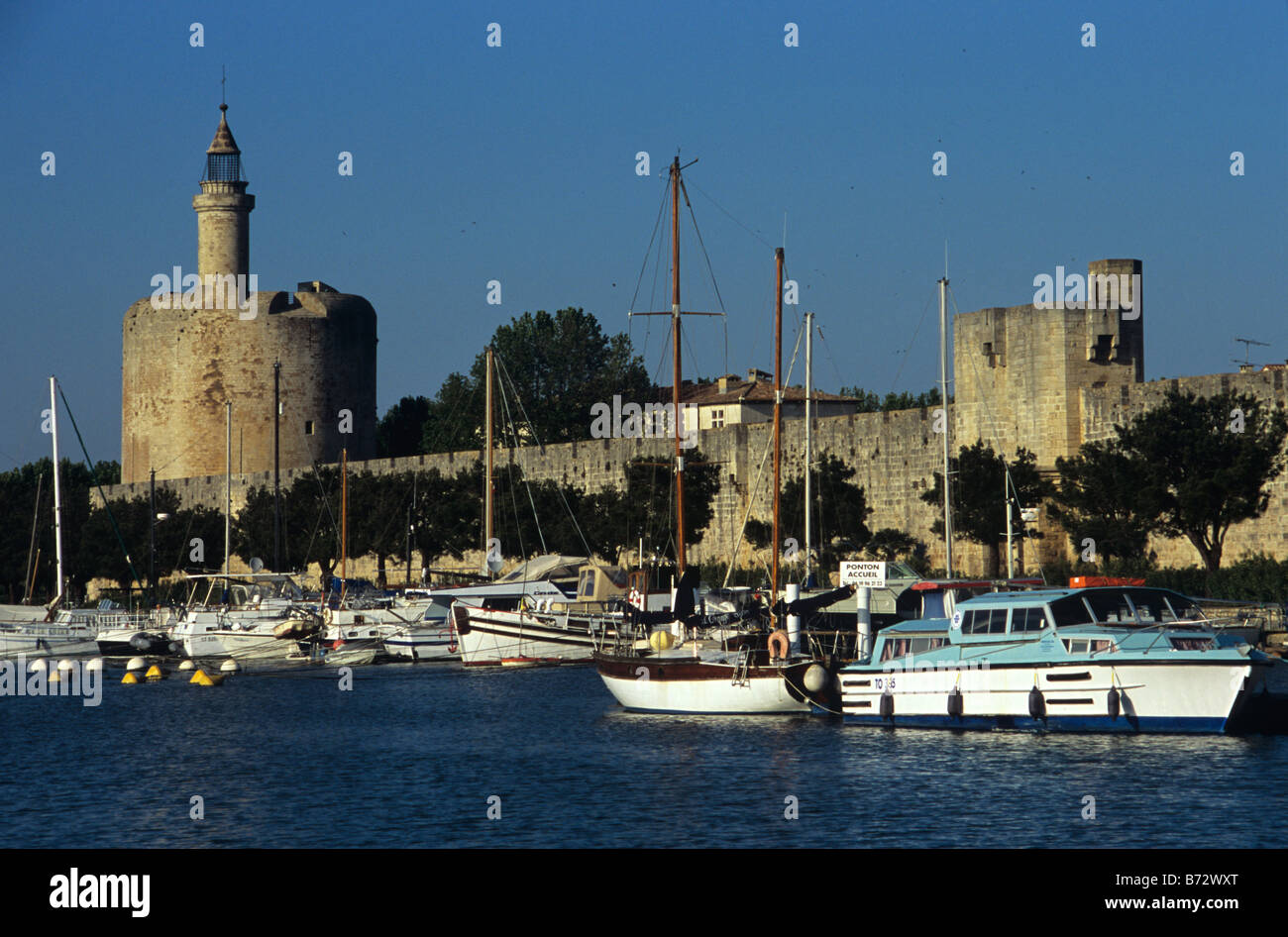 Tower of Constance, Fortified Town Walls of Aigues Mortes & Rhône Canal, Little Camargue, Gard, Provence, - Stock Image