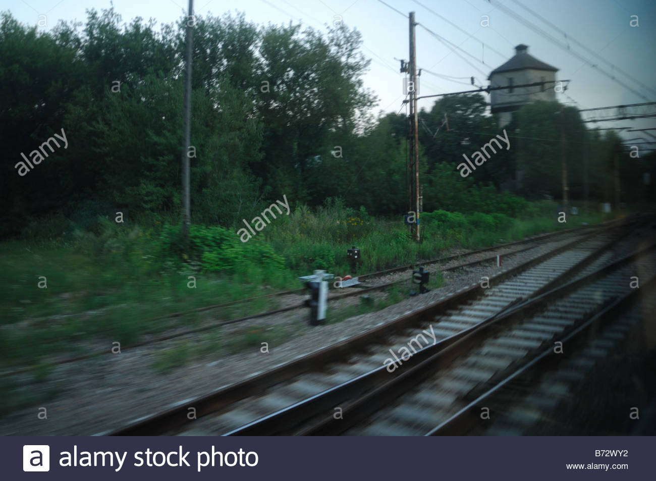 Countrside on a train journey in Poland from Krakow to Warsaw - Stock Image