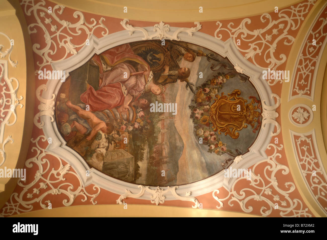 Interior ceiling of the University in Wroclaw originally Breslau - Stock Image