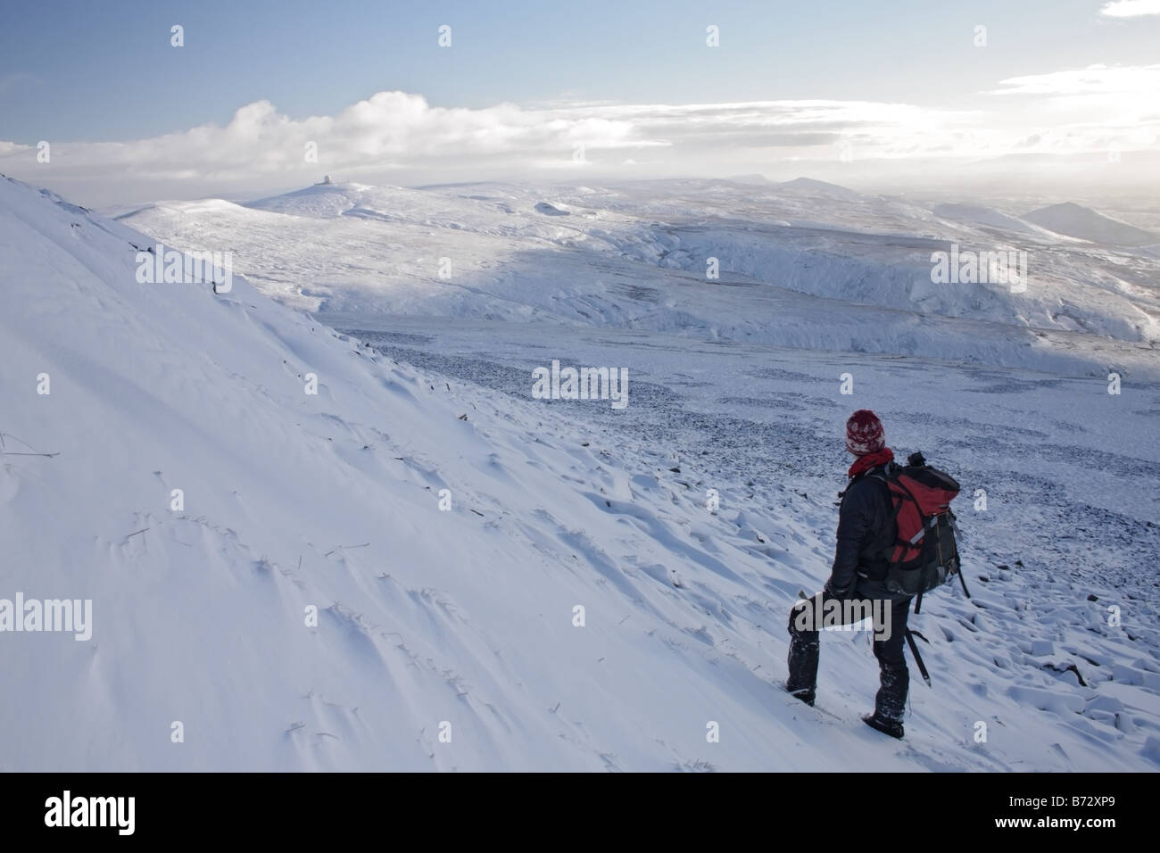 Hill Walker and the View Towards Great Dun Fell From the Slopes of Cross Fell in Winter Pennines Northern England - Stock Image