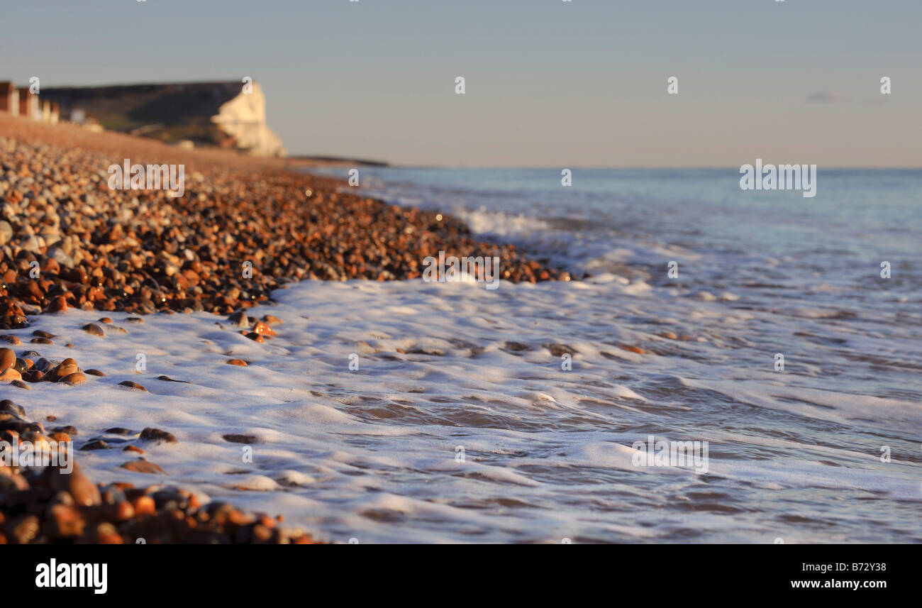 Seaford beach in East Sussex with Seaford Head in the distance. Picture by Jim Holden. Stock Photo
