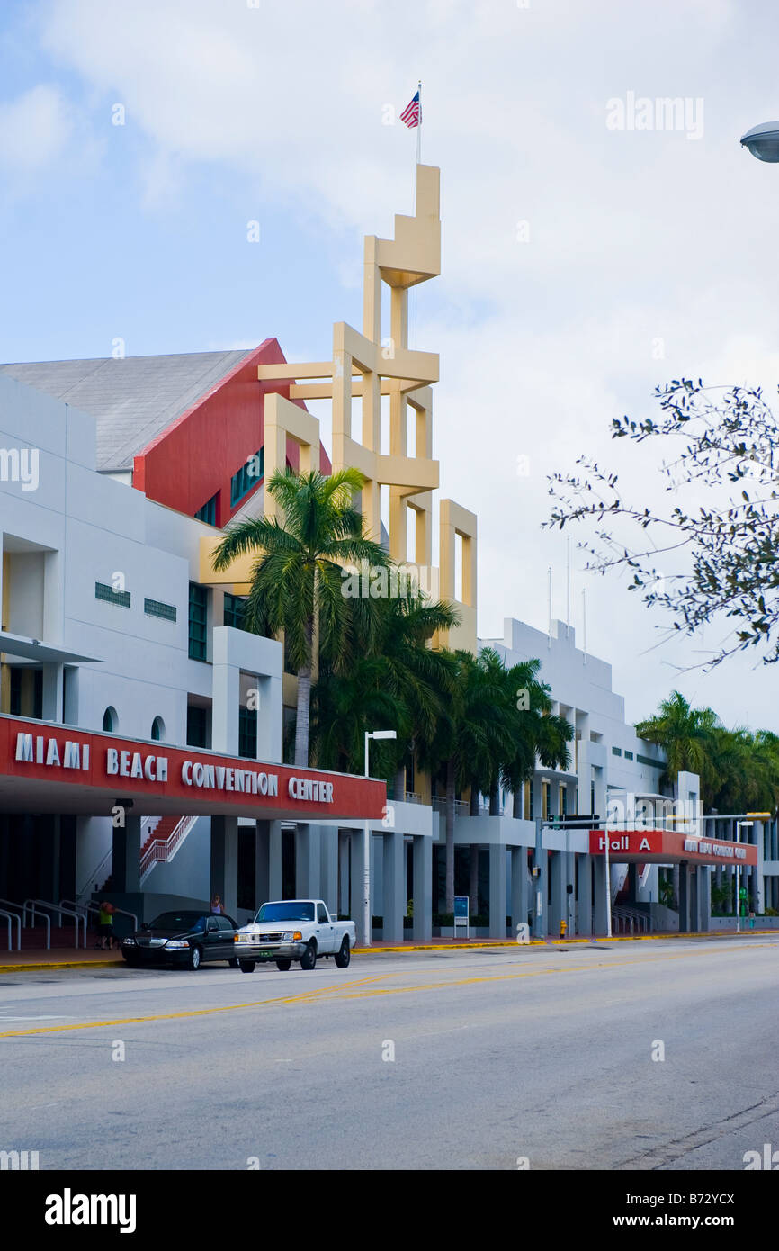 Florida Modern contemporary art deco structure of the Miami Beach Convention Center with Union flag flying Stock Photo