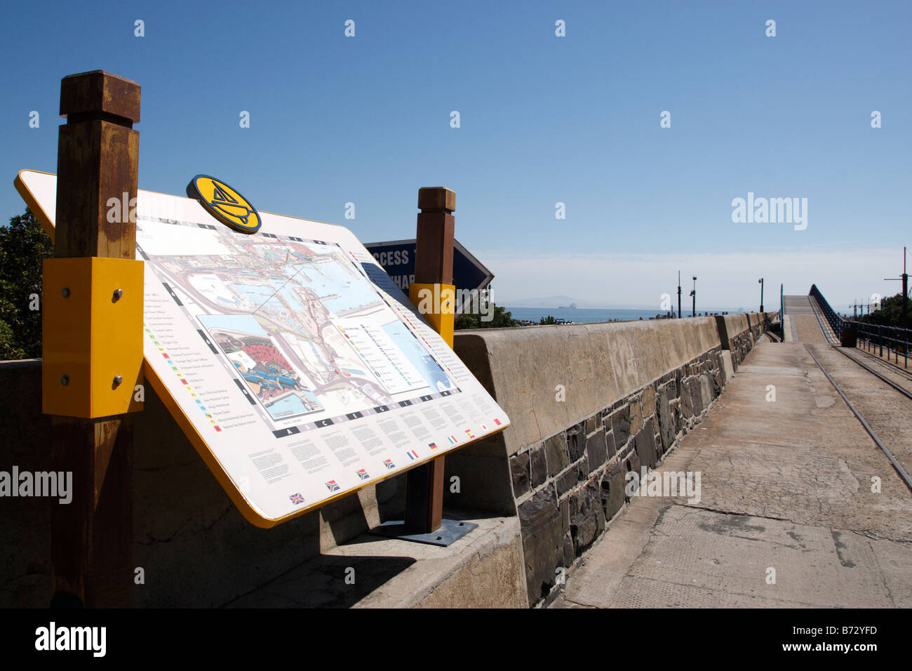 information map and part of the yellow route near the east pier road V&A waterfront cape town south africa - Stock Image