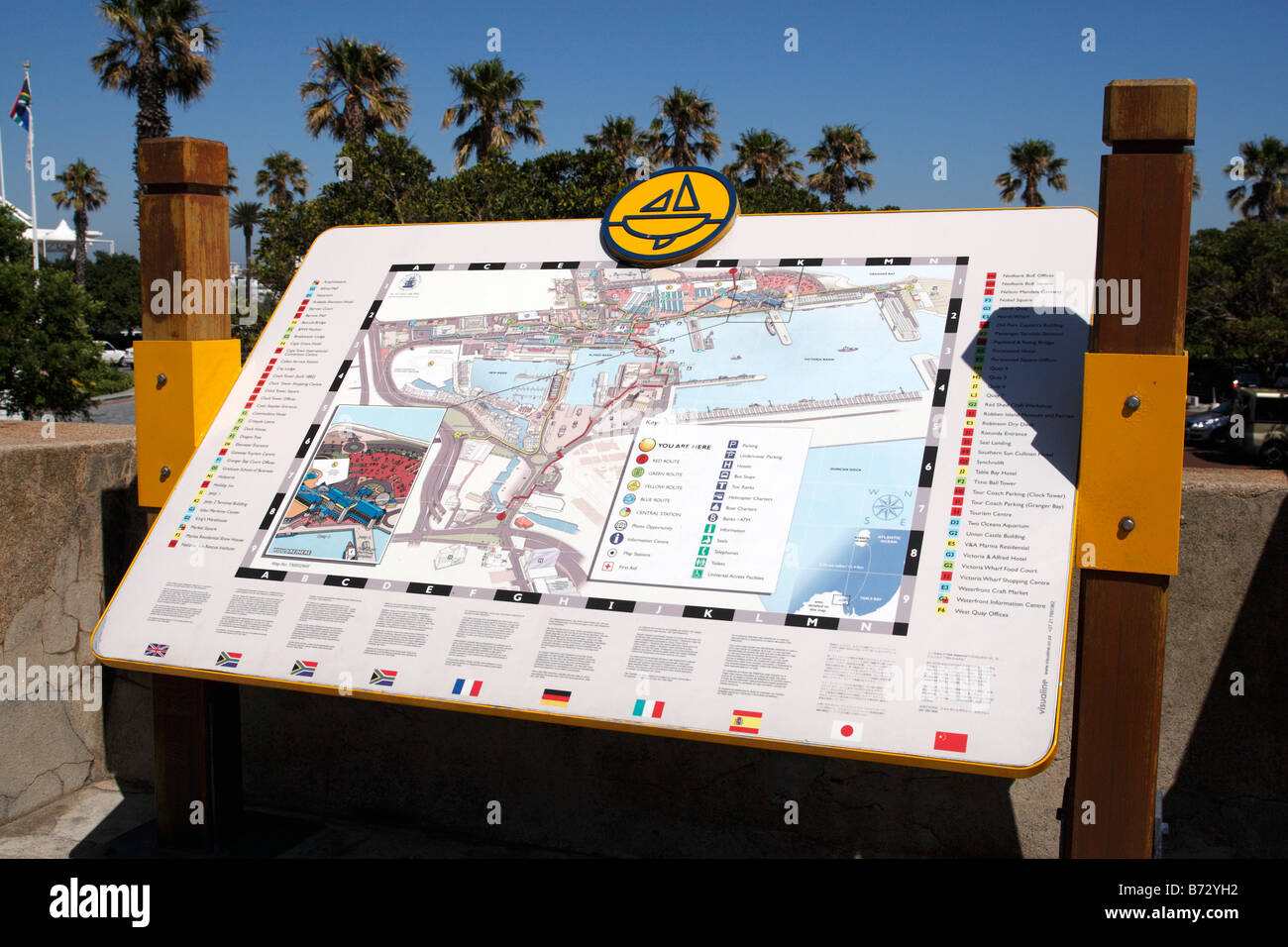 information map of the V&A area near the east pier road V&A waterfront cape town south africa - Stock Image