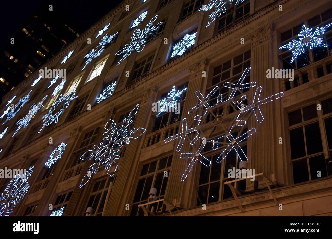rockefeller center snowflake light show christmas stock image - Rockefeller Christmas Show