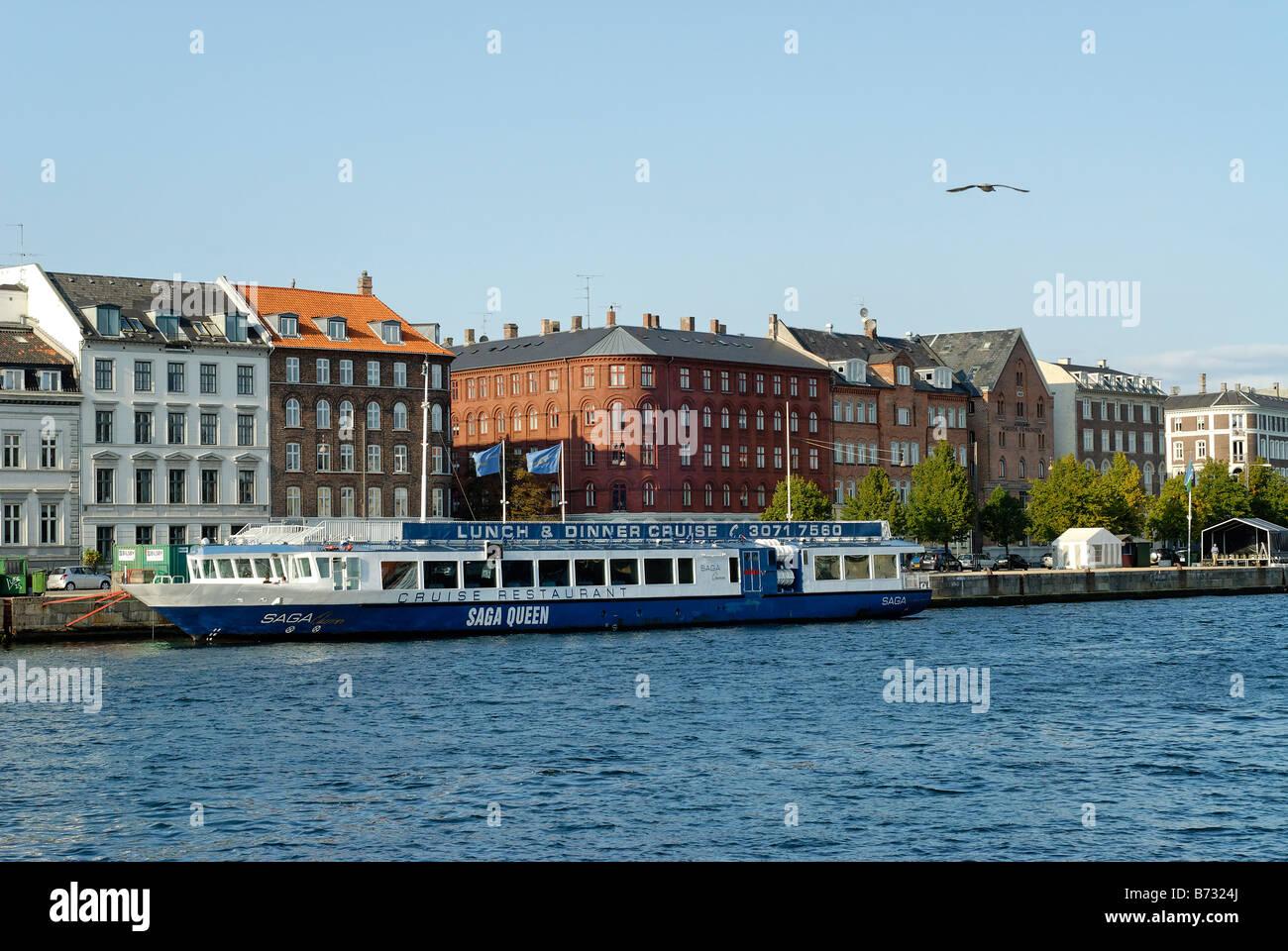 Cruise restaurant at the mooring Copenhagen Denmark - Stock Image
