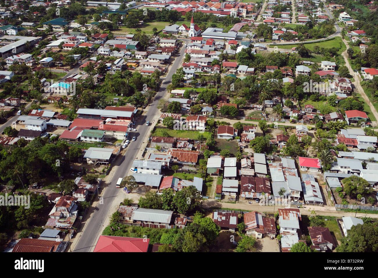 Suriname, Paramaribo, Aerial of residential areas. Stock Photo