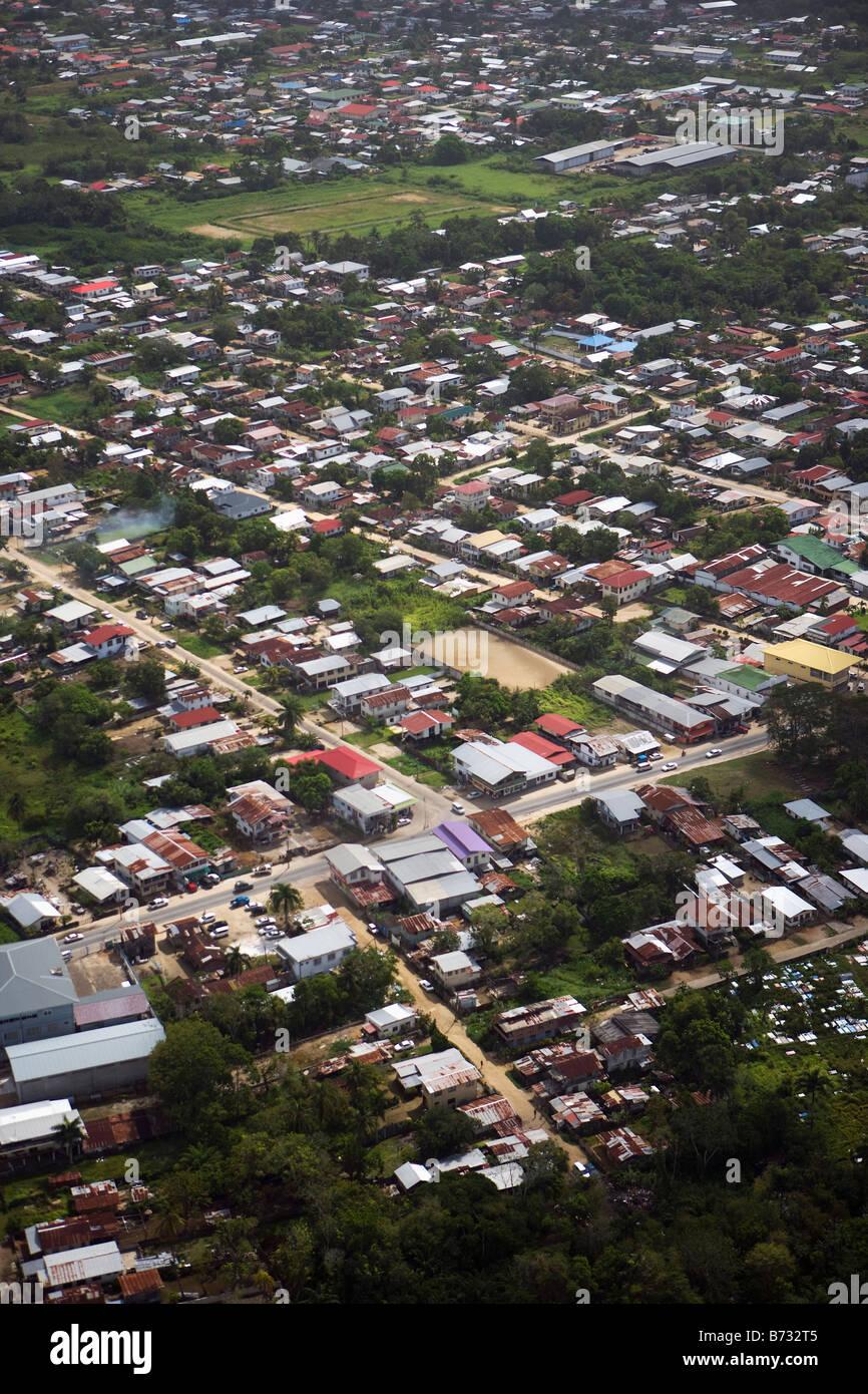 Suriname, Paramaribo, Aerial of residential areas. - Stock Image