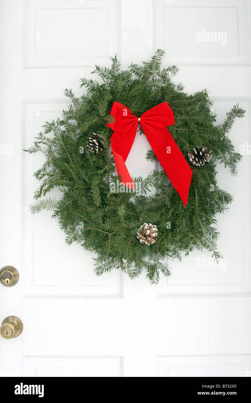 christmas front door clipart. A Christmas Wreath Hanging On The White Front Door Of Home - Stock Image Clipart O