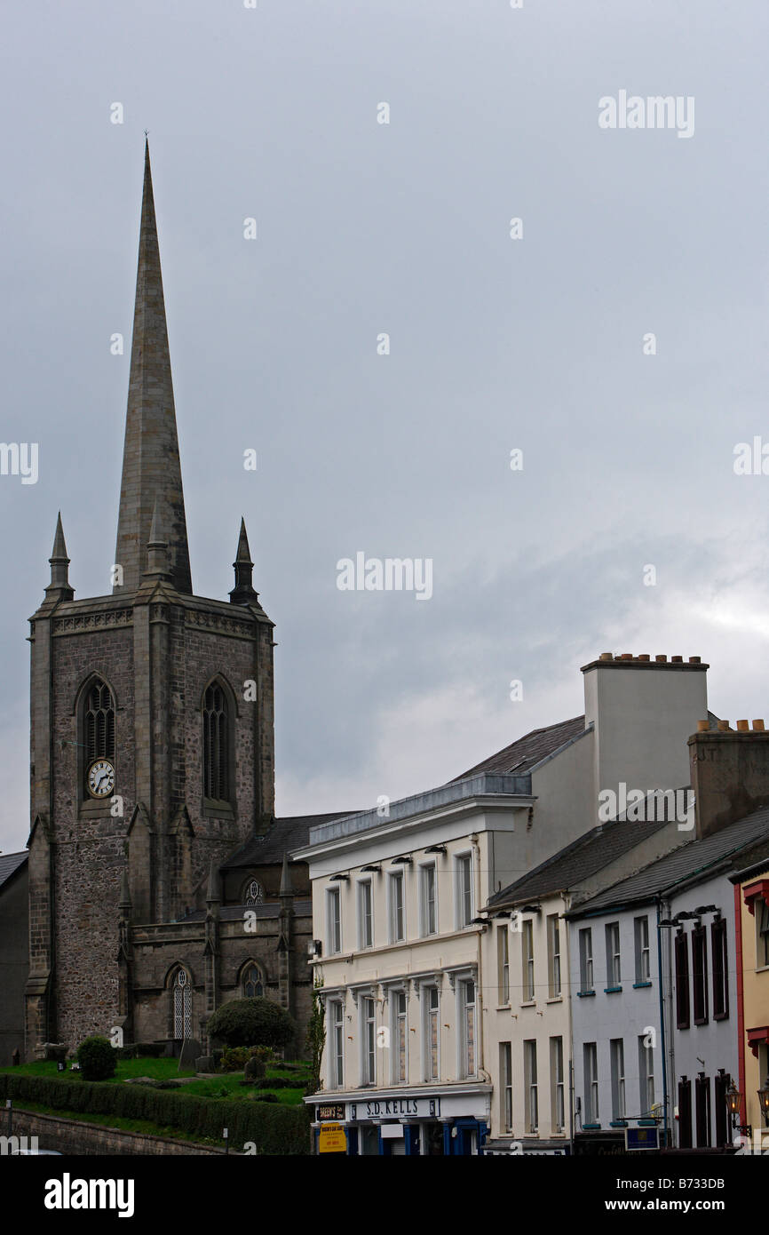 Northern Ireland Enniskillen St Macartin s Catholic Cathedral Darling Sreet typical buildings Co Fermanagh UK - Stock Image