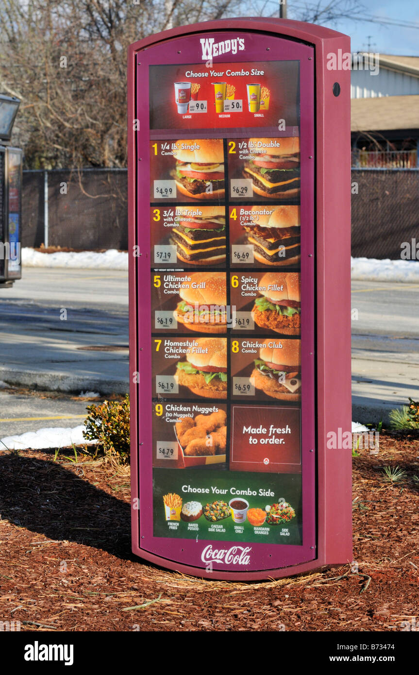 Wendy's fast food drive through menu sign usa. - Stock Image