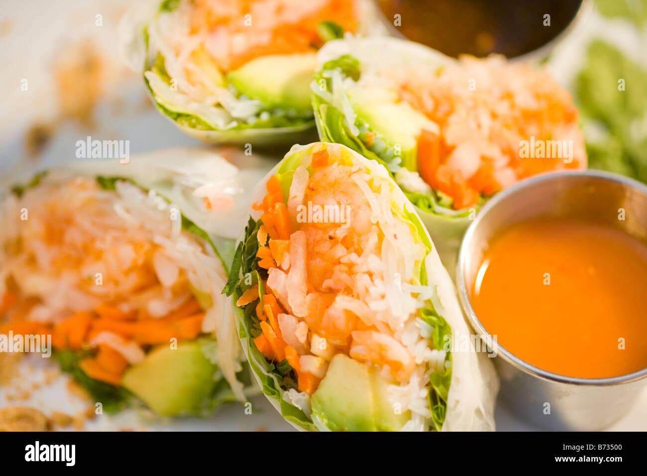 Fresh Shrimp Avocado Spring Rolls Novo Restaurant San Luis Obispo