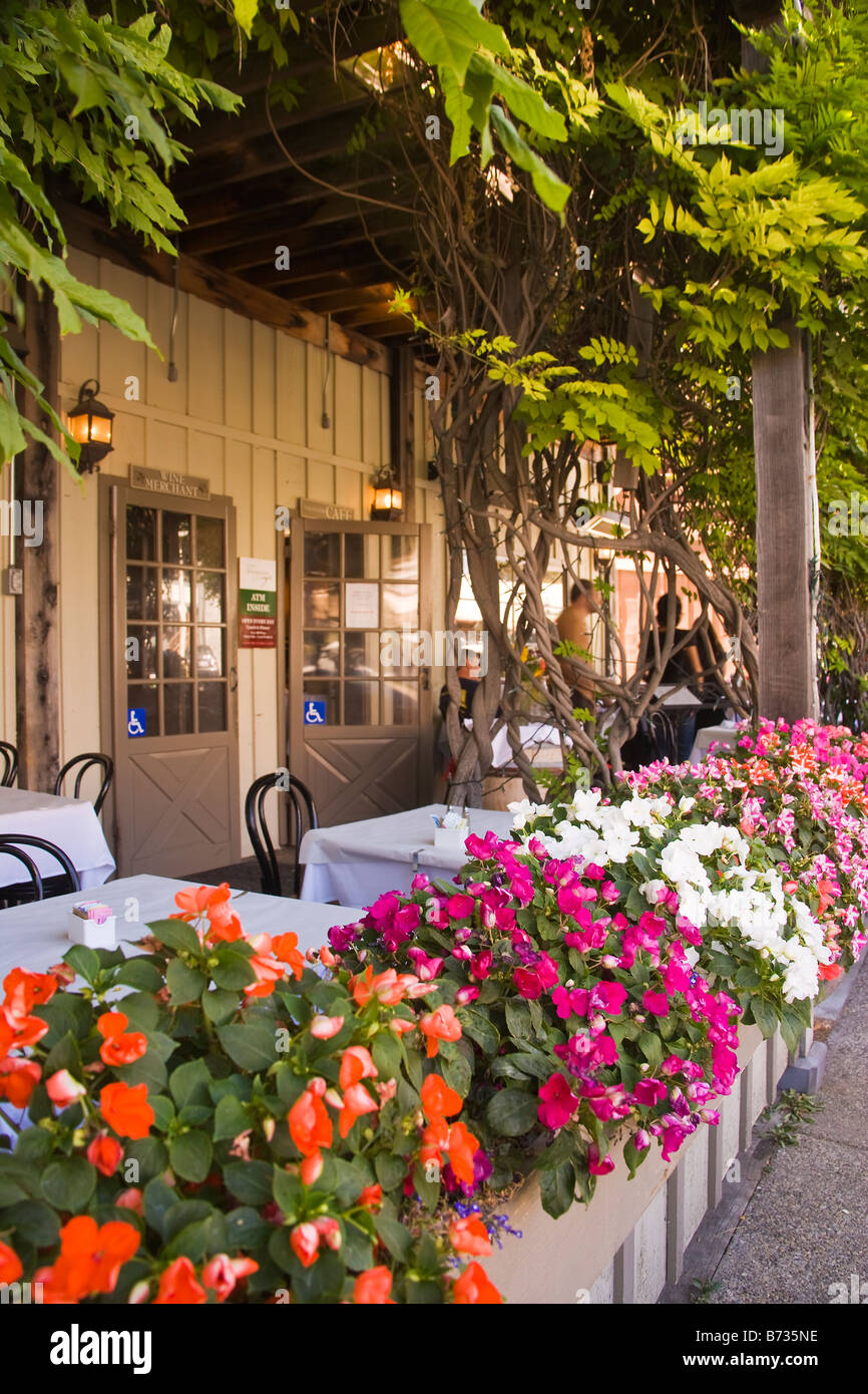 outdoor patio at the Los Olivos Cafe and Wine Merchant Los Olivos Santa Ynez Valley California United States of - Stock Image