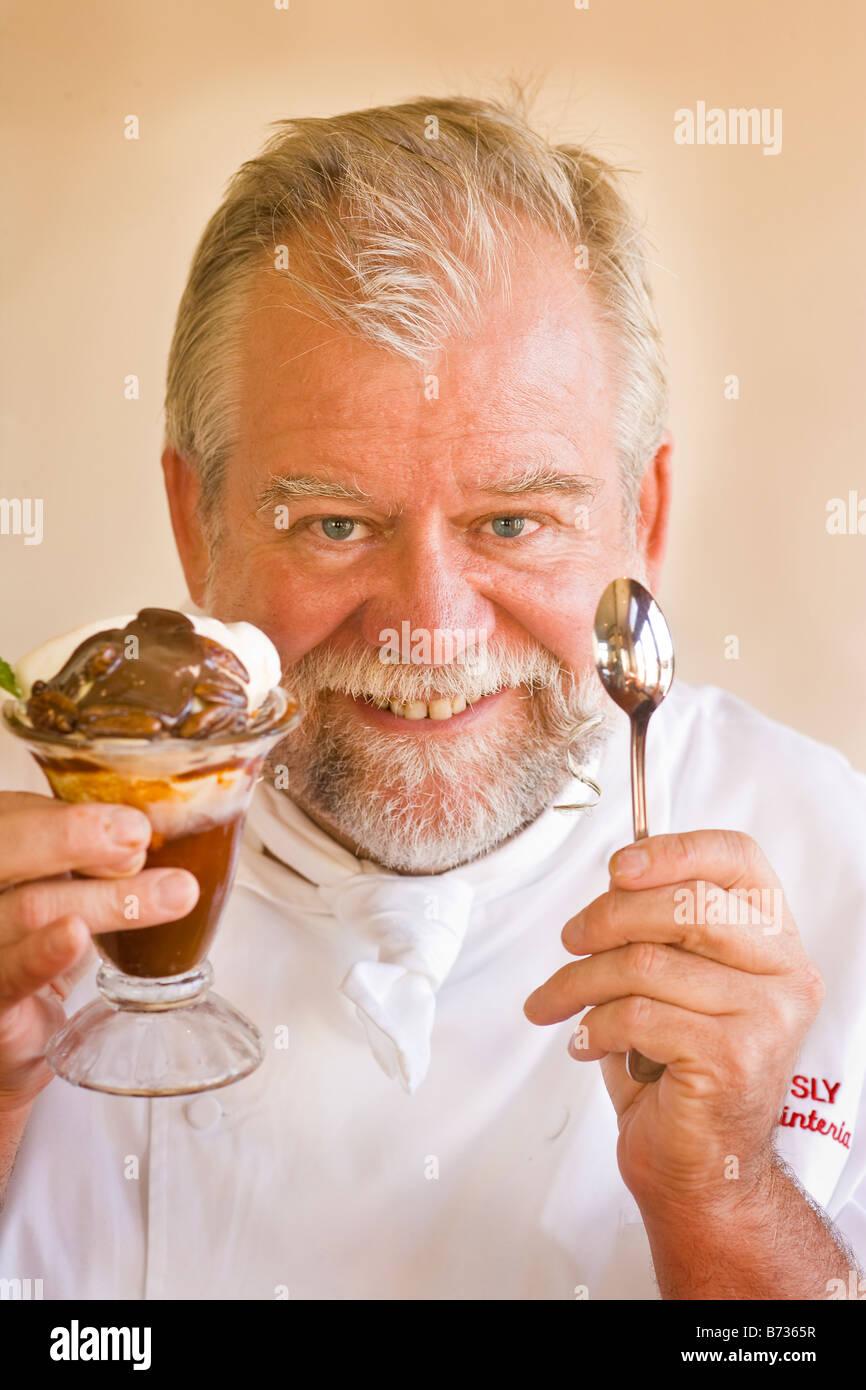 chef James Sly with his signature sundae Carpinteria California - Stock Image