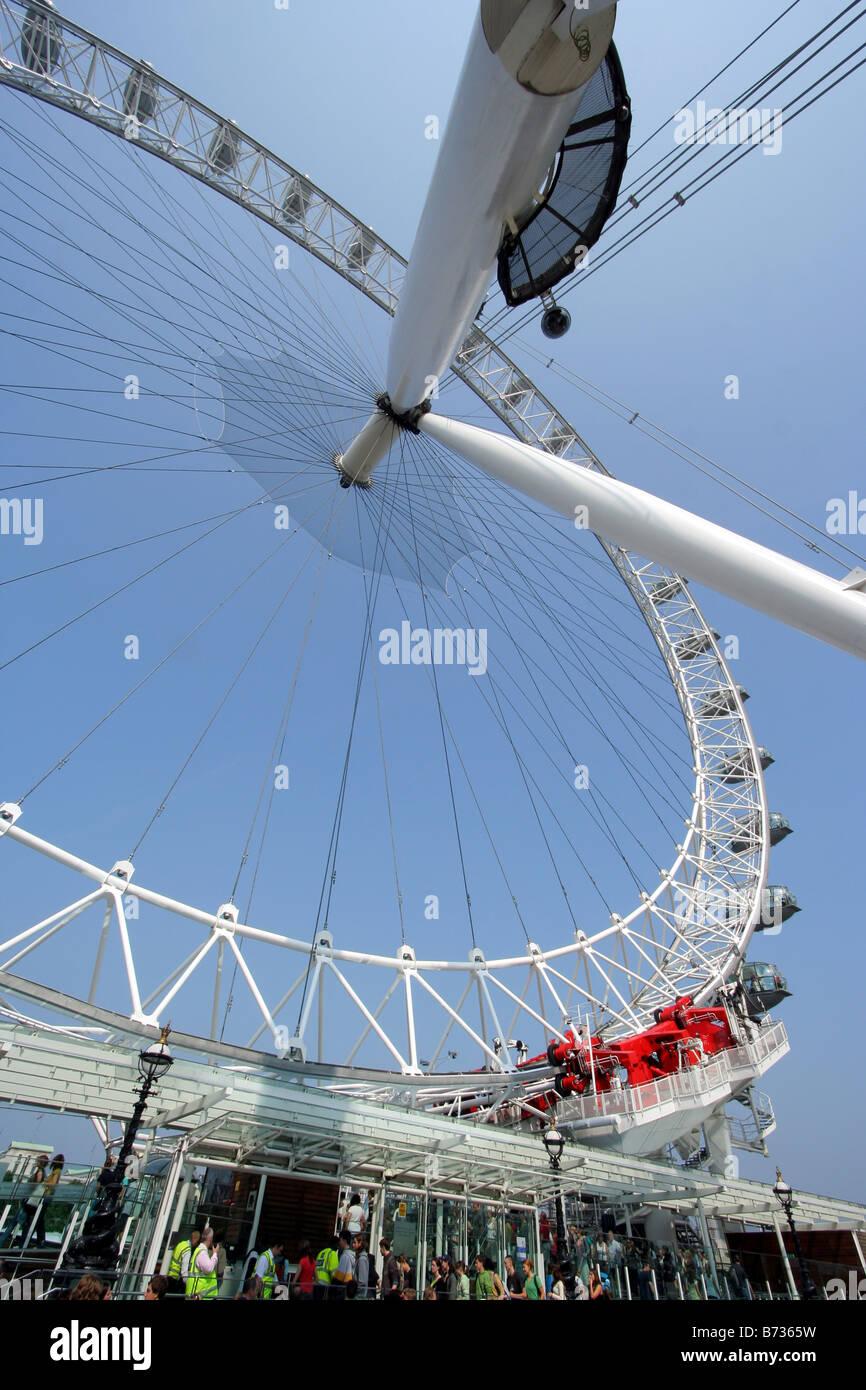 London Eye viewed from below - Stock Image