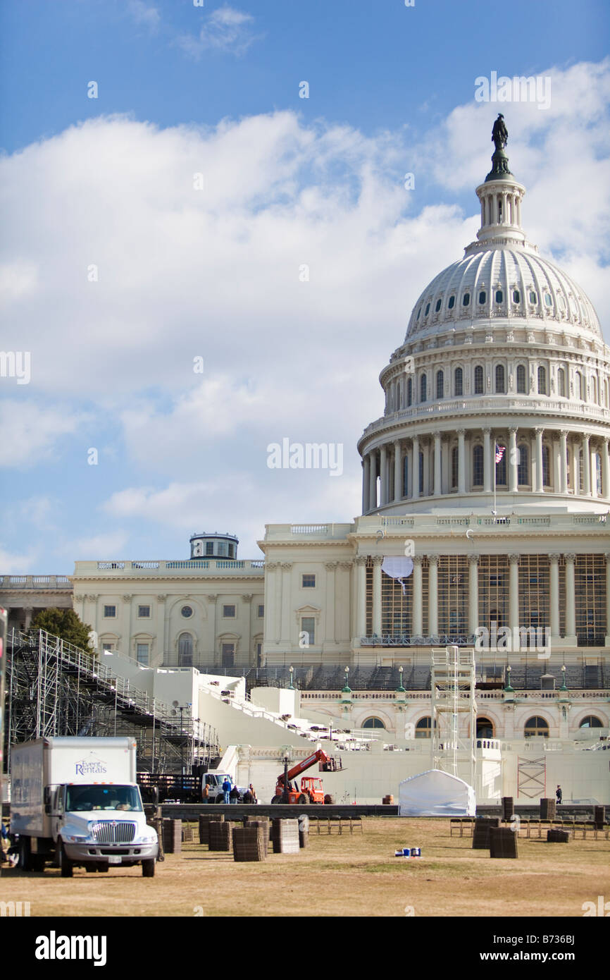 Preparation in front of the Capitol in DC for  the 56th Presidential Inauguration, which will take place on January - Stock Image