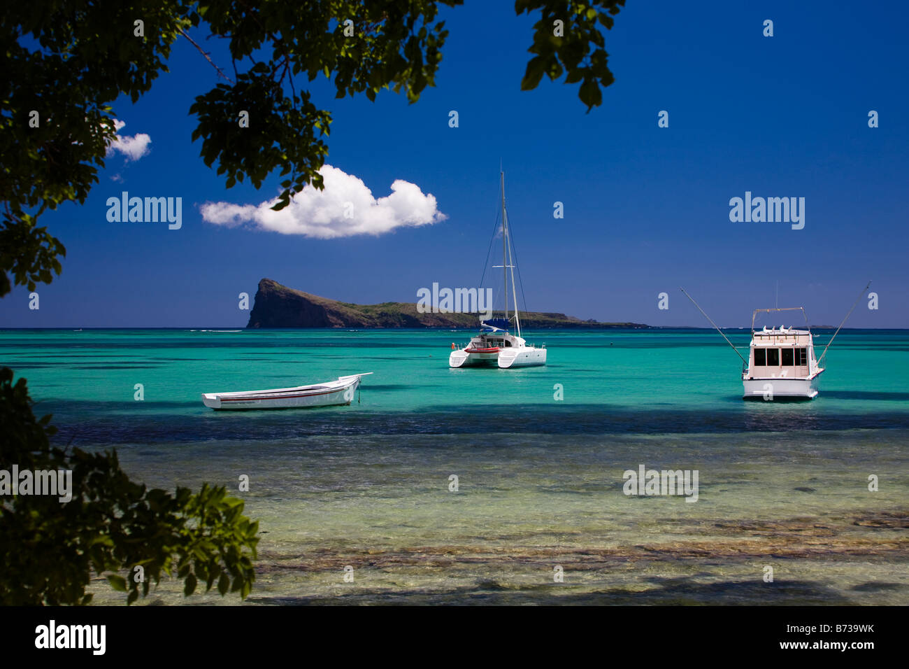 Island of Coin de Mire also known as Gunners Quoin Indian Ocean Mauritius near Grand Baie - Stock Image