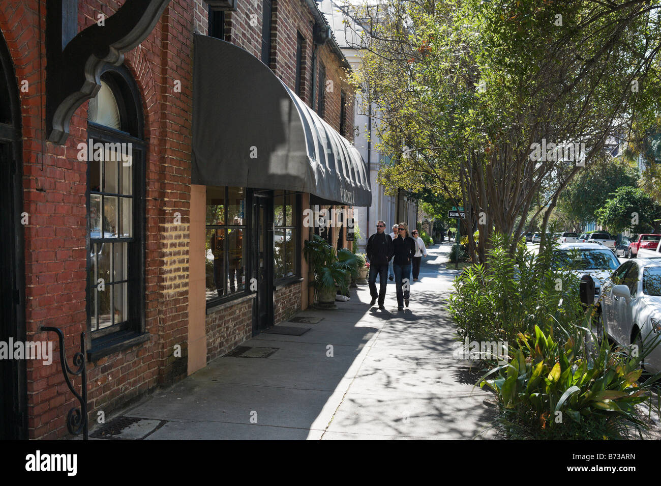 Shops on East Bay Street in the historic district, Charleston, South Carolina, USA - Stock Image