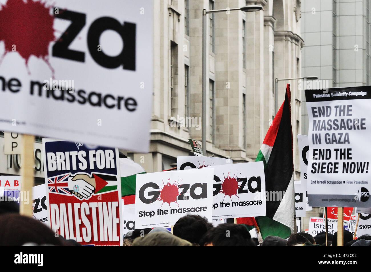 Anti-Israel Gaza massacre protest outside the Israel Embassy, London, UK - Stock Image