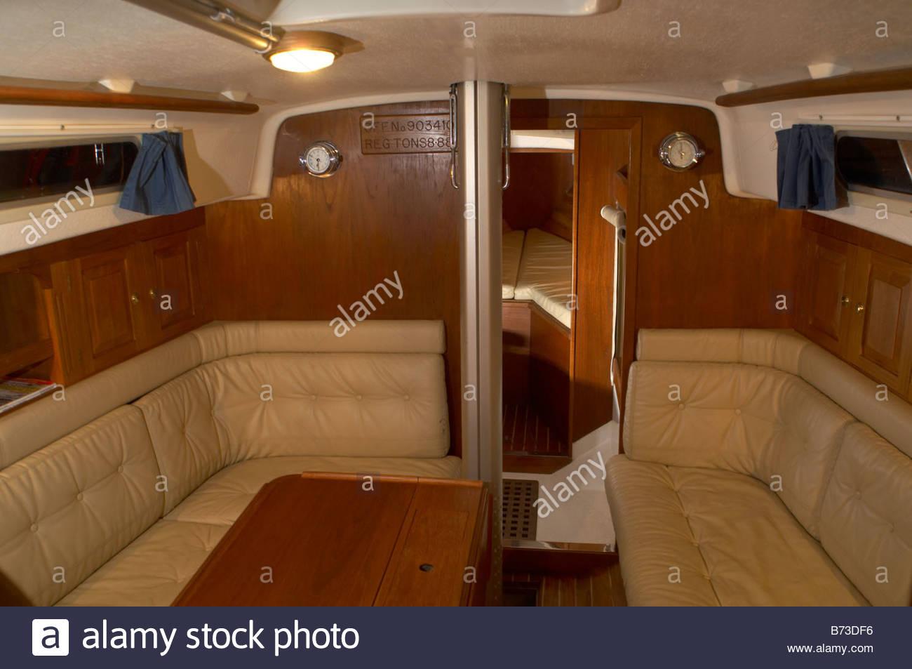 The Interior Of A Contessa 32 Sailing Yacht The Saloon Stock Photo