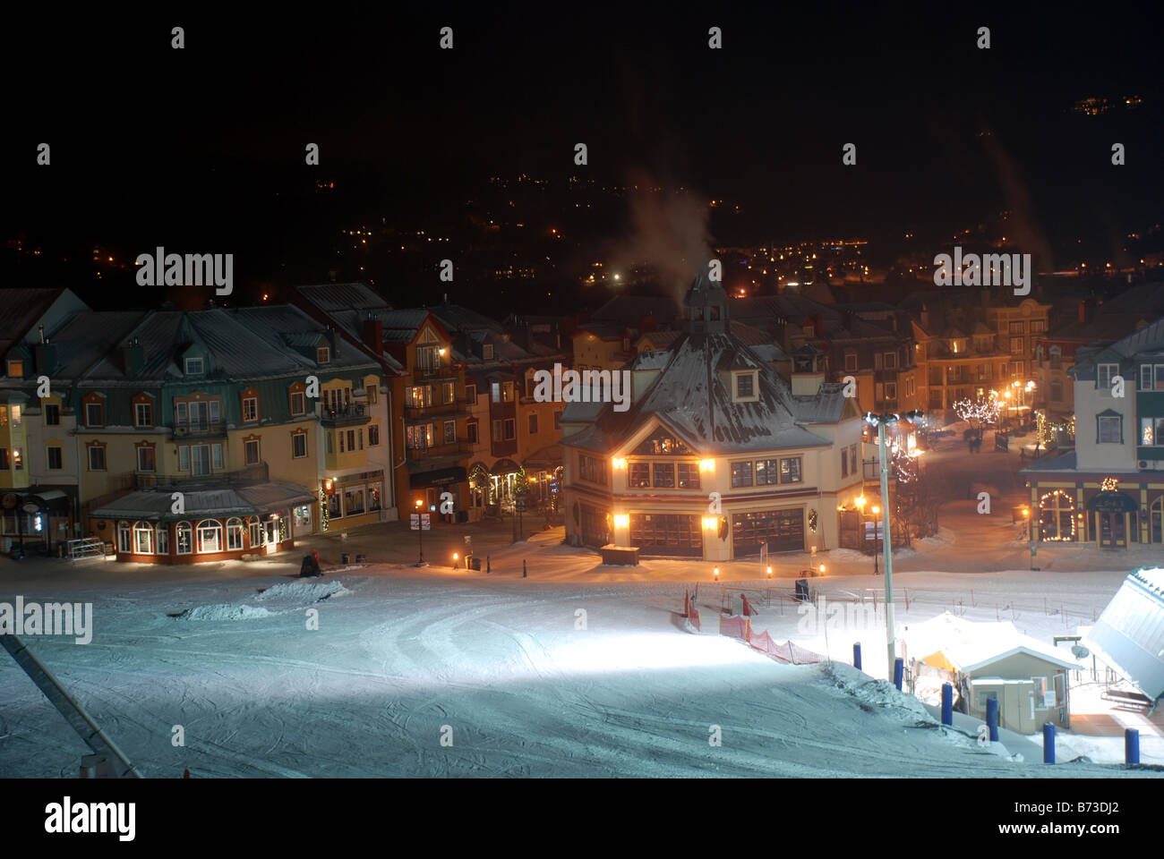 Mont Tremblant, Quebec, Canada at night - Stock Image