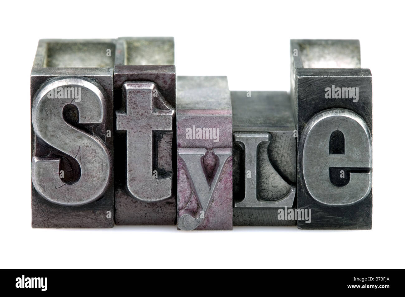 The word STYLE in old letterpress printing blocks isolated on a white background - Stock Image